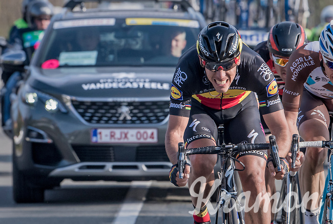 race leaders Greg Van Avermaet (BEL/BMC), Philippe Gilbert (BEL/Quick Step floors) &amp; Oliver Naesen (BEL/AG2R-LaMondiale) on their way to the finish<br /> <br /> 60th E3 Harelbeke (1.UWT)<br /> 1day race: Harelbeke &rsaquo; Harelbeke - BEL (206km)