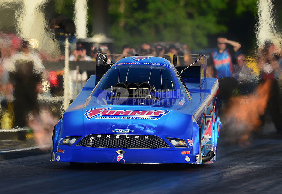 May 4, 2012; Commerce, GA, USA: NHRA funny car driver Dan Wilkerson during qualifying for the Southern Nationals at Atlanta Dragway. Mandatory Credit: Mark J. Rebilas-