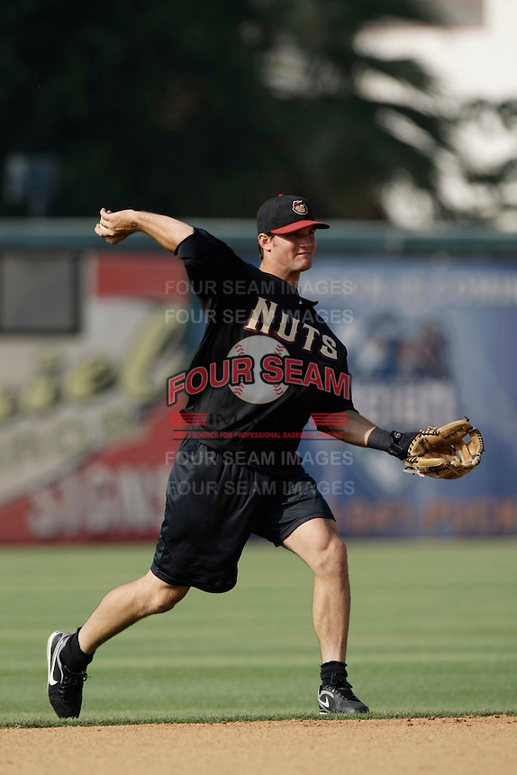 May 28 2009: Warren Schaeffer of the Modesto Nuts before game against the Inland Empire 66'ers at Arrowhead Credit Union Park in San Bernardino,CA.  Photo by Larry Goren/Four Seam Images