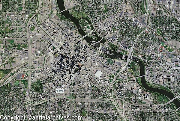 aerial photo map of Minneapolis, Minnesota