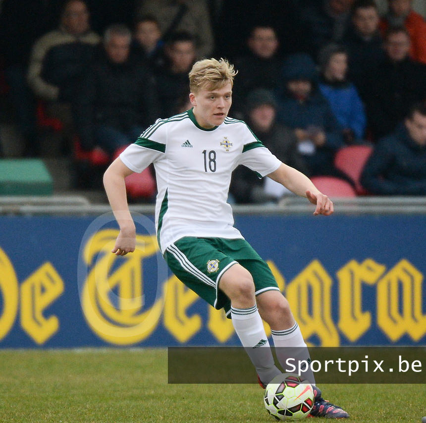 20150314 - GENDT , NETHERLANDS  : Northern Irish Karl Hamill pictured during the soccer match between Under 17 teams of  The Netherlands and Northern Ireland , on the second matchday in group 3 of the UEFA Elite Round Under 17 at De Bataven Stadion , Gendt , The Netherlands . Saturday  14 th March 2015 . PHOTO DAVID CATRY