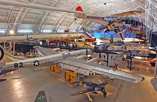 """Chantilly, Virginia - December 5, 2003 -- Wide angle view of part of the exhibit area at the Steven F. Udvar-Hazy Center in Chantilly, Virginia.  The B-29 Stratofortress """"Enola Gay"""" dominates the foreground and the Air France Concorde dominates the background.  When the museum opens on December 15, 2003, 80 of the planned 200 aircraft will be on exhibit either on the floor or hanging from the roof of the facility..Credit: Ron Sachs / CNP.(RESTRICTION: NO New York or New Jersey Newspapers or newspapers within a 75 mile radius of New York City)"""