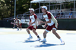 08 May 2015:  Jesse Ruder-Hook (right) and David Fox (left). The University of Denver Pioneers played the Mississippi State University Bulldogs at Cone-Kenfield Tennis Center in Chapel Hill, North Carolina in a 2015 NCAA Division I Men's Tennis Tournament First Round match. MSU won the match 4-3.