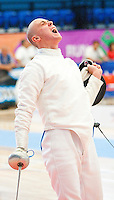 13 AUG 2009 - LONDON, GBR - Steven Mason (GBR) celebrates a point during the fencing at the Mens World Modern Pentathlon Championship Qualifiers (PHOTO (C) NIGEL FARROW)