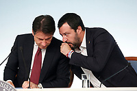 Giuseppe Conte, Matteo Salvini <br /> Roma 20/10/2018. Consiglio dei Ministri sulla Manovra Economica DEF.<br /> Rome October 20th 2018. Minister's Cabinet about the Economic and Financial Document.<br /> Foto Samantha Zucchi Insidefoto