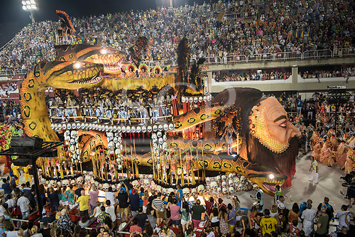 Imperatriz Leopolinense Samba School, Carnival, Rio de Janeiro, Brazil, 26th February 2017. The 'Embrace of the Sucurí (snake)' float to represent the invasion of the forest by the white men and the death and destruction they brought.