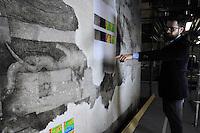 """Milano, Castello Sforzesco, La Sala delle Asse riapre per EXPO 2015 e presenta """"il Leonardo ritrovato"""". Lavori di restauro per il recupero del monocromo e nuove tracce di disegni attribuibili a Leonardo.Milan, Castello Sforzesco, La Sala delle Asse reopens for EXPO 2015 and presents """"the rediscovered Leonardo """". Restoration works for the recovery of the monochrome and new traces of drawings attributed to Leonardo."""