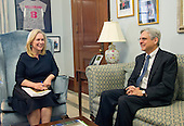 United States Senator Kirsten Gillibrand (Democrat of New York), left, meets Judge Merrick Garland, chief justice for the US Court of Appeals for the District of Columbia Circuit, right, who is US President Barack Obama's selection to replace the late Associate Justice Antonin Scalia on the US Supreme Court, during a meeting in her Capitol Hill office in Washington, DC on Wednesday, March 30, 2016. <br /> Credit: Ron Sachs / CNP