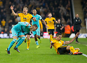 11th February 2019, Molineux, Wolverhampton, England; EPL Premier League football, Wolverhampton Wanderers versus Newcastle United; Miguel Almiron of Newcastle United  and Conor Coady of Wolverhampton Wanderers clash as they go for the ball on the side line