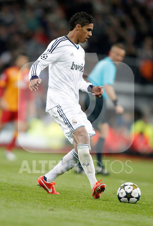Real Madrid's Raphaël Varane during UEFA Champions League match. April 03, 2013. (ALTERPHOTOS/Alvaro Hernandez)