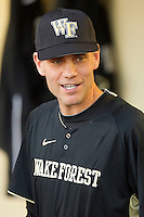 Wake Forest Demon Deacons head coach Tom Walter #32 prior to the game against the LSU Tigers at Alex Box Stadium on February 18, 2011 in Baton Rouge, Louisiana.  The Tigers defeated the Demon Deacons 15-4.  Photo by Brian Westerholt / Four Seam Images