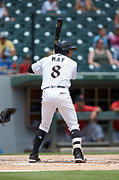 Jacob May (8) of the Charlotte Knights at bat against the Indianapolis Indians at BB&T BallPark on August 22, 2018 in Charlotte, North Carolina.  The Indians defeated the Knights 6-4 in 11 innings.  (Brian Westerholt/Four Seam Images)