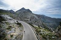 Tim Wellens (BEL) up Sa Calobra<br /> <br /> 2014 Lotto-Belisol training camp, Mallorca