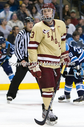 Patch Alber (BC - 3) - The Boston College Eagles defeated the University of Maine Black Bears 4-1 to win the 2012 Hockey East championship on Saturday, March 17, 2012, at TD Garden in Boston, Massachusetts.