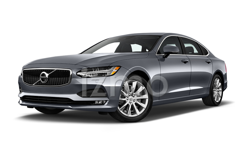 Stock pictures of low aggressive front three quarter view of a 2018 Volvo S90 Momentum 4 Door Sedan