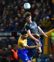 Lincoln City's Mark O'Hara battles with Mansfield Town's Jacob Mellis<br /> <br /> Photographer Andrew Vaughan/CameraSport<br /> <br /> The EFL Sky Bet League Two - Mansfield Town v Lincoln City - Monday 18th March 2019 - Field Mill - Mansfield<br /> <br /> World Copyright © 2019 CameraSport. All rights reserved. 43 Linden Ave. Countesthorpe. Leicester. England. LE8 5PG - Tel: +44 (0) 116 277 4147 - admin@camerasport.com - www.camerasport.com