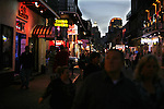 People walk in  Bourbon Street New Orleans Louisiana Friday Oct 24 2008. Americans will go to the polls on Nov 4, at a time of great Financial crisis, war in Iraq and Afghanistan, to elect a  new President. A vote, that will affect not only America, but the whole world. Photo by Eyal Warshavsky .