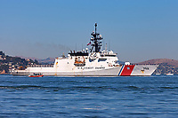 The USCG Legend class cutter Stratton (WMSL 752) on San Francisco Bay. The Stratton is the third of the Legend class cutters and is named after Coast Guard Captain Dorothy C. Stratton.