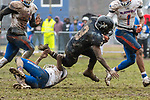 ANSONIA, CT. 02 December 2018-120218 - Ansonia running back Shykeem Harmon #3 gets tripped up by Bloomfield's Michael Raiford #6 during the Class S Semi-final game between Bloomfield and Ansonia at Ansonia High School in Ansonia on Sunday. Bloomfield held on to beat Ansonia 26-19 and advances to the Class S Championship game next week. Bill Shettle Republican-American