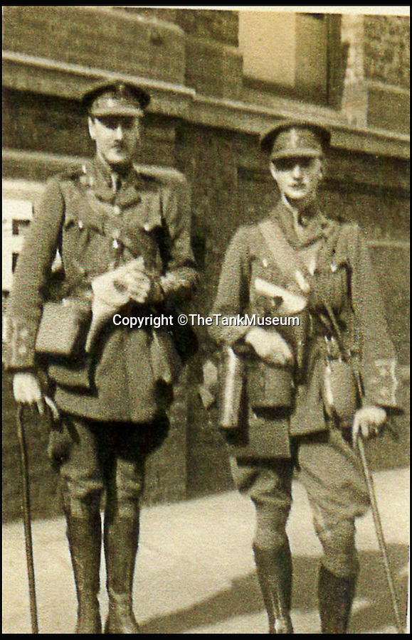 BNPS.co.uk (01202 558833)<br /> Pic: TheTankMuseum/BNPS<br /> <br /> George Macpherson (left) and Basil Henriques.<br /> <br /> A poignant ring made from a shard of glass that struck a First World War tank commander when his periscope took a direct hit has been unearthed 100 years later.<br /> <br /> Lieutenant Sir Basil Henriques was peering into the viewpoint during the first outing of the Mk I tank on the battlefield when artillery fire struck a glass prism that shattered, sending splinters into his face.<br /> <br /> Medics later removed the pieces and the officer kept the largest part and had it mounted in a gold ring which he then gave to his new bride, Rose. The item has been unearthed in the archives of the Tank Museum in Dorset.
