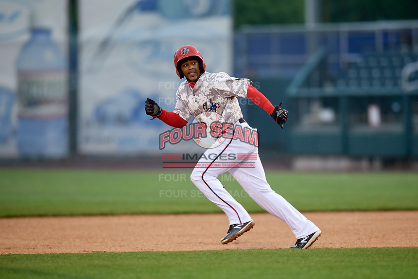 Harrisburg Senators second baseman Kayyan Norfork (15) runs to second base during the second game of a doubleheader against the New Hampshire Fisher Cats on May 13, 2018 at FNB Field in Harrisburg, Pennsylvania.  Harrisburg defeated New Hampshire 2-1.  (Mike Janes/Four Seam Images)
