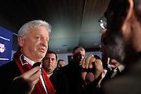 New York Red Bulls head coach Hans Backe addresses the media during a press conference at Red Bull Arena in Harrison, NJ, on January 13, 2010.