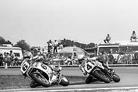 Wayne Rainey, #6 Honda, leads Eddie Lawson, #4 Yamaha, Daytona 200, AMA Superbikes, Daytona International Speedway, Daytona Beach, FL, March 9, 1986.(Photo by Brian Cleary/bcpix.com)