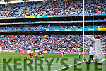 Ciarán O'Reilly Kerry misses a shot at goal against Derry in the All-Ireland Minor Footballl Final in Croke Park on Sunday.