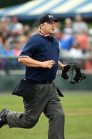 June 26th 2008:  Home plate umpire Matt Jones during a game at Falcon Park in Auburn, NY.  Photo by:  Mike Janes/Four Seam Images