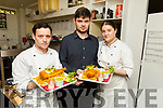 Stephen and Aidan Prenderville with Laura McGaley in the kitchen of the Spúnóg Restaurant in Kilflynn