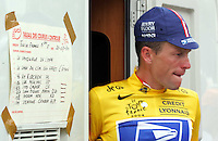 20.07.2004 Five time Tour winner Lance Armstrong of team US Postal leaves the drug test trailer after his victory in the 15th stage of the 91st Tour de France cycling race in Villard-de-Lans, France, 20 July 2004. Armstrong won the 180.5 km long stage from Valreas to Villard-de-Lans after outsprinting his rivals and claim his second stage victory of the 2004 Tour. Armstrong also claimed the yellow jersey of the overall leader.
