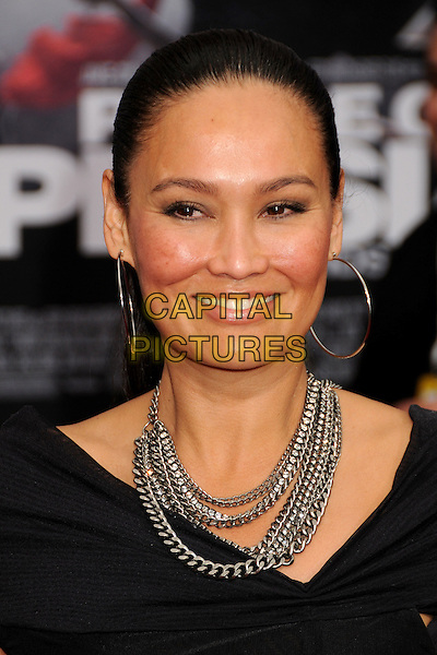 "TIA CARRERE.""Prince Of Persia: The Sands Of Time"" Los Angeles Premiere held at Grauman's Chinese Theatre, Hollywood, California, USA..May 17th, 2010.headshot portrait black chains hoop gold earrings silver necklaces .CAP/ADM/BP.©Byron Purvis/AdMedia/Capital Pictures."