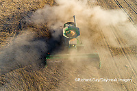 63801-13216 Harvesting soybeans in fall-aerial Marion Co. IL