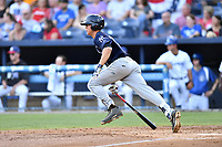 Charleston RiverDogs left fielder Blake Rutherford (23) swings at a pitch during a game against the Asheville Tourists at McCormick Field on July 4, 2017 in Asheville, North Carolina. The Tourists defeated the RiverDogs 2-1. (Tony Farlow/Four Seam Images)