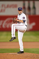 Lancaster JetHawks relief pitcher Austin Moore (33) during a California League game against the Lake Elsinore Storm on April 10, 2019 at The Hangar in Lancaster, California. Lake Elsinore defeated Lancaster 10-0 in the first game of a doubleheader. (Zachary Lucy/Four Seam Images)