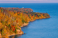 Au Sable Point Lighthouse from Log Slide<br /> Lake Superior<br /> Pictured Rocks National Lakeshore<br /> Upper Peninsula, Michigan