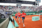 Roland Garros. Paris, France. June 1st 2012.A day with the ball boys..Ball boy leave the court. Another team replaced them.