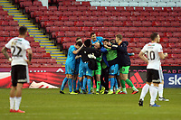 Barnet players celebrate their victory after Sheffield United vs Barnet, Emirates FA Cup Football at Bramall Lane on 6th January 2019