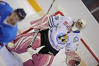 IJSHOCKEY: LEEUWARDEN: 04-10-2015, Elfstedenhal, UNIS Flyers - Olympia Heist, 8-1, vrouwelijke goalie Jente Vanroy, uitslag ©foto Martin de Jong