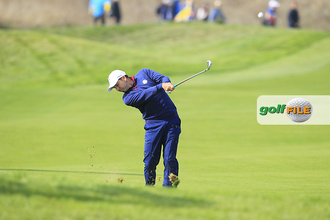 Sergio Garcia (Team Europe) on the 4th fairway during the Friday Foursomes at the Ryder Cup, Le Golf National, Ile-de-France, France. 28/09/2018.<br /> Picture Thos Caffrey / Golffile.ie<br /> <br /> All photo usage must carry mandatory copyright credit (© Golffile   Thos Caffrey)