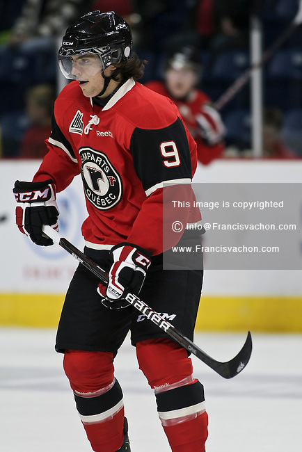 QMJHL (LHJMQ) hockey profile photo on Quebec Remparts Jeremie Malouin September 16, 2011 at the Colisee Pepsi in Quebec city.