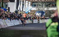 Annemarie Worst (NED) crosses the finish line as the new European Champion <br /> <br /> UEC CYCLO-CROSS EUROPEAN CHAMPIONSHIPS 2018<br /> 's-Hertogenbosch – The Netherlands<br /> Women's Elite Race