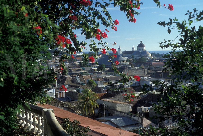 AJ2290, Haiti, Caribbean, Scenic view of Cap-Haitian and the cathedral in Haiti.