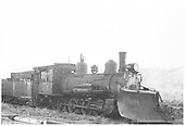 3/4 view of RGS 2-8-0 #42 with plow at Ridgway.<br /> RGS  Ridgway, CO  Taken by Hanft, Robert M. - 5/1/1947