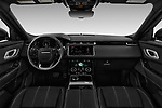 Stock photo of straight dashboard view of a 2018 Land Rover Range Rover Velar R-Dynamic SE 4WD 5 Door SUV