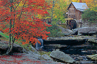 Red maple and Glade Creek Grist Mill<br />