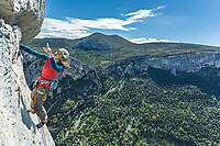 Jo Stadden on 'Wide is Love' 6a, Verdon Gorge, France