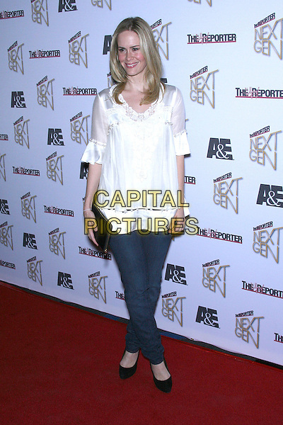 SARAH PAULSON.The Hollywood Reporter's Next Generation Reception - Arrivals held at Sunset Beach, West Hollywood, California, USA..November 7th, 2006.Ref: ADM/ZL.full length white top jeans denim .www.capitalpictures.com.sales@capitalpictures.com.©Zach Lipp/AdMedia/Capital Pictures.