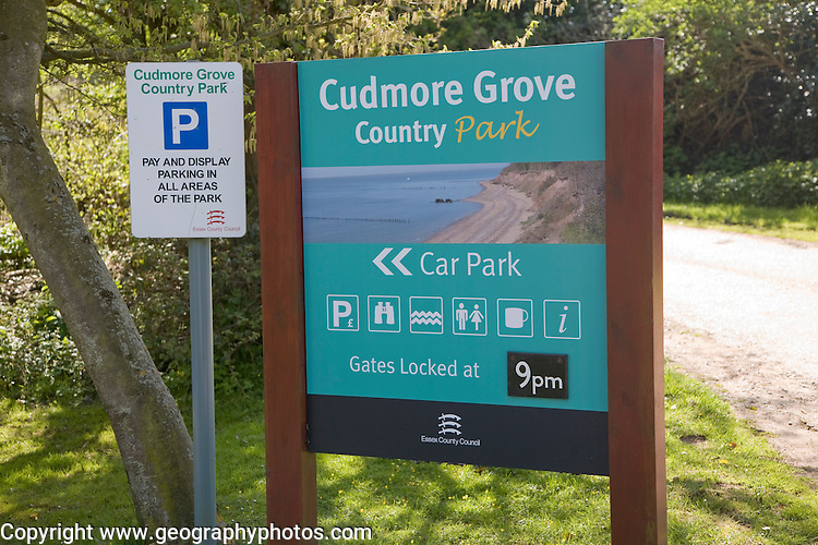 Sign for Cudmore Grove country park, East Mersea, Mersea Island, Essex, England