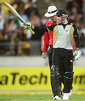 NZ's Brendon McCullum celebrates his half century during 2nd Twenty20 cricket match match between New Zealand Black Caps and West Indies at Westpac Stadium, Wellington, New Zealand on Friday, 27 February 2009. Photo: Dave Lintott / lintottphoto.co.nz